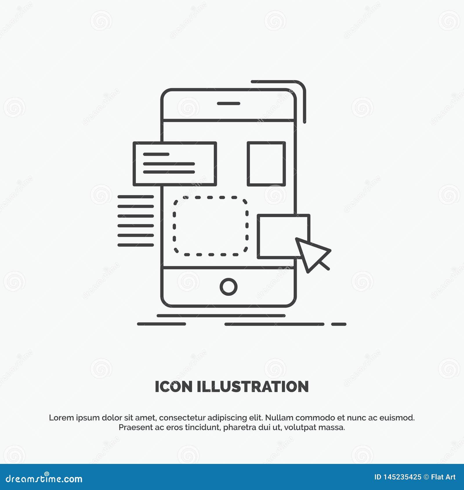 Mobiele belemmering, ontwerp, ui, ux Pictogram Lijn vector grijs symbool voor UI en UX, website of mobiele toepassing
