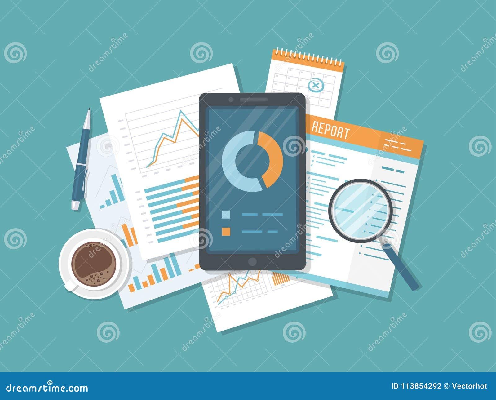 Mobiele controle, gegevensanalyse, statistieken, onderzoek Telefoon met informatie over het scherm, documenten, rapport, kalender