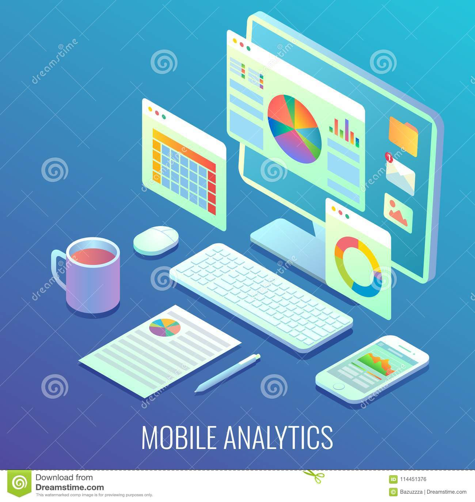 Mobiele het concepten vector vlakke isometrische illustratie van Webanalytics