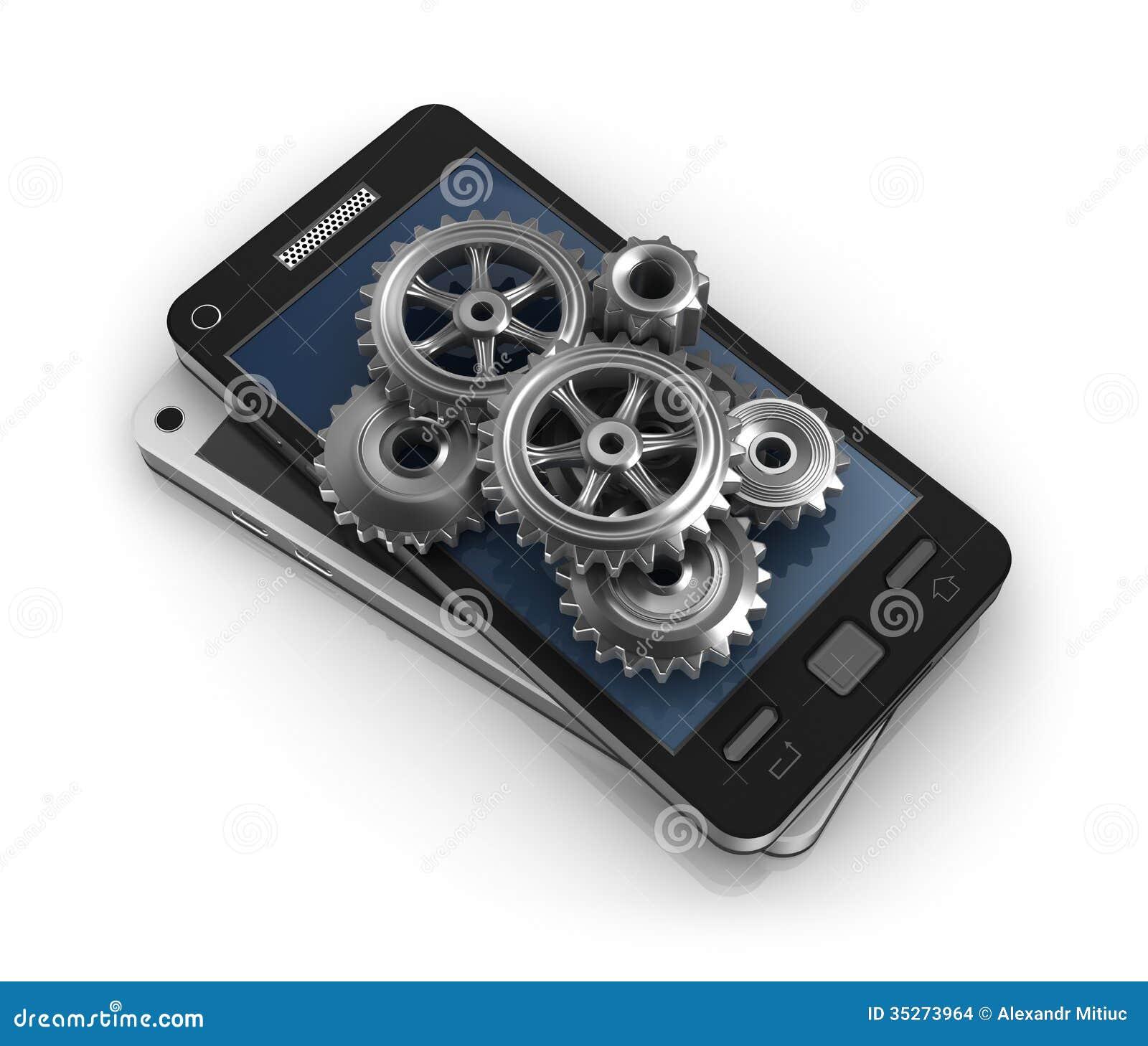 Mobiele telefoon en toestellen De ontwikkelingsconcept van de toepassing