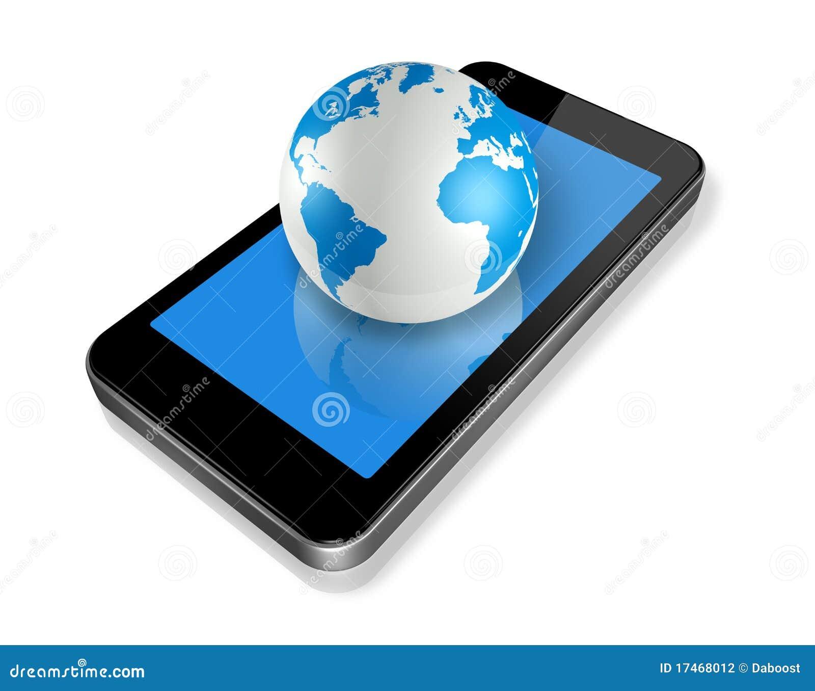 Mobiele telefoon en wereldbol stock illustratie - Maastricht mobel ...
