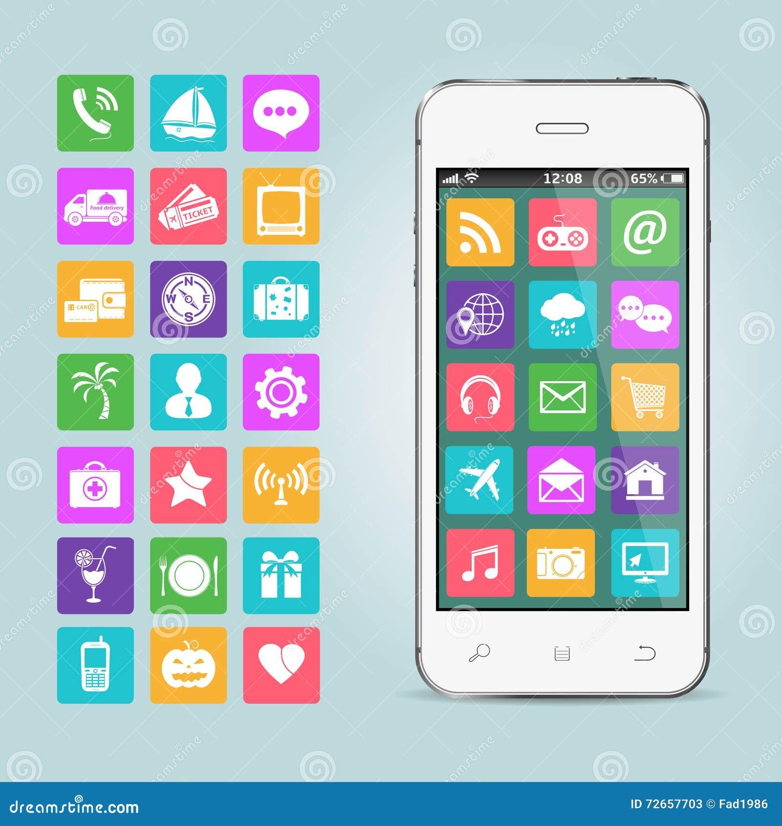 Mobiele telefoon met app pictogrammen