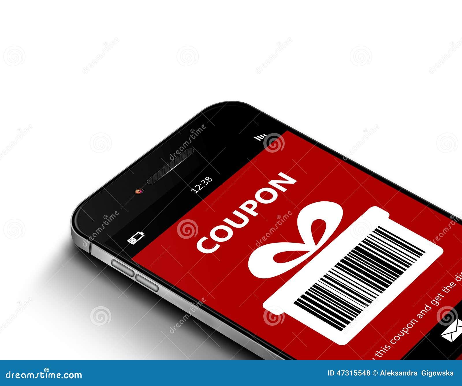 Mobiele telefoon met de coupon van de Kerstmiskorting over wit