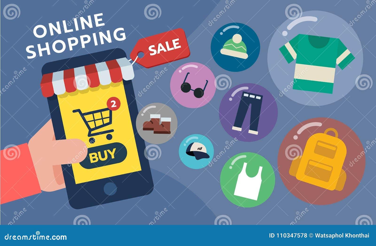Mobiele telefoon Mobiele opslag, winkelconcept Online het winkelen toepassing