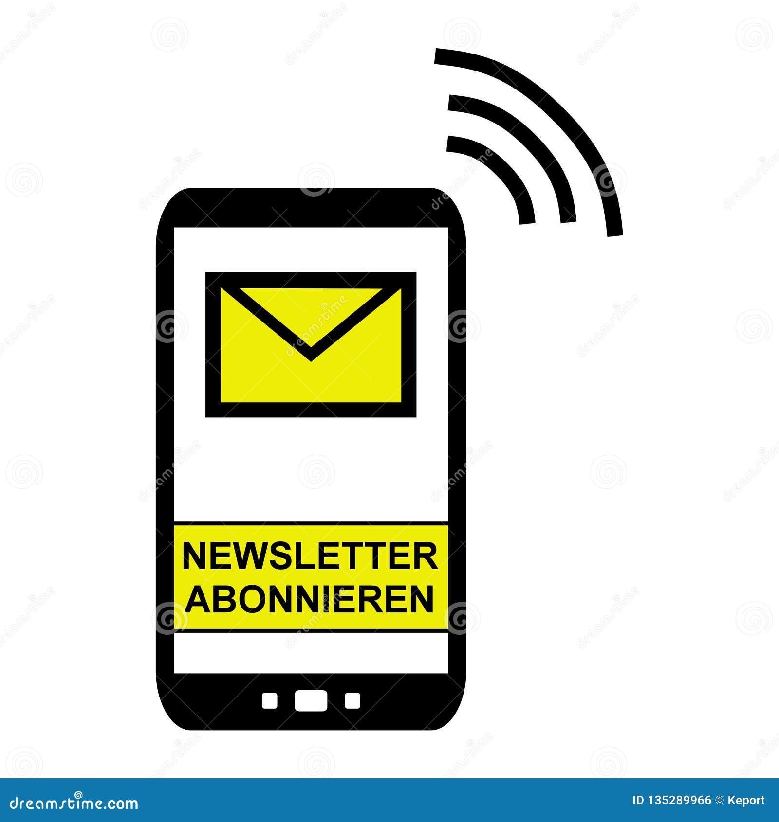 Mobiele Telefoon - teken aan Bulletin het Duits in