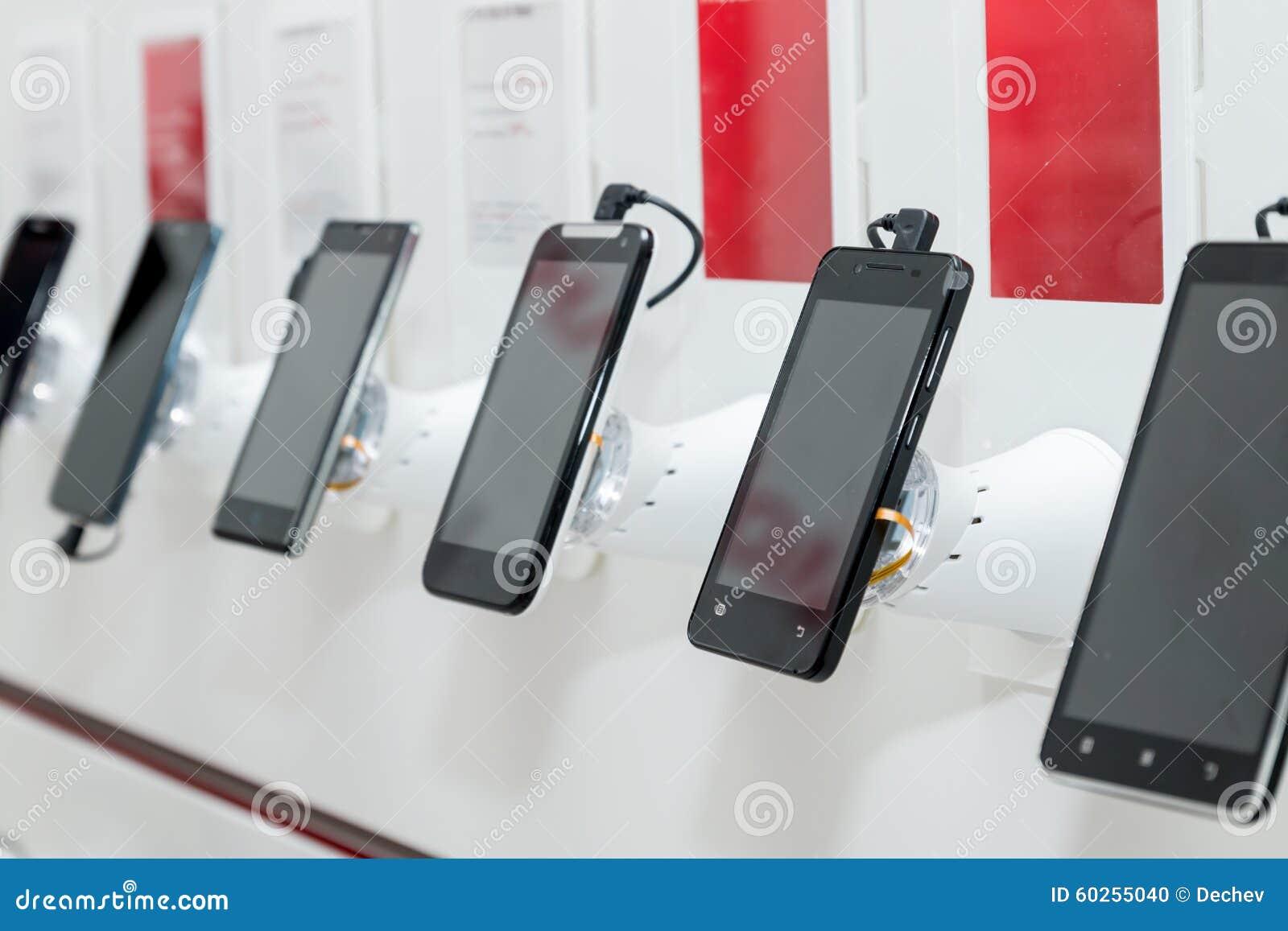Mobiele telefoons in toonzaal