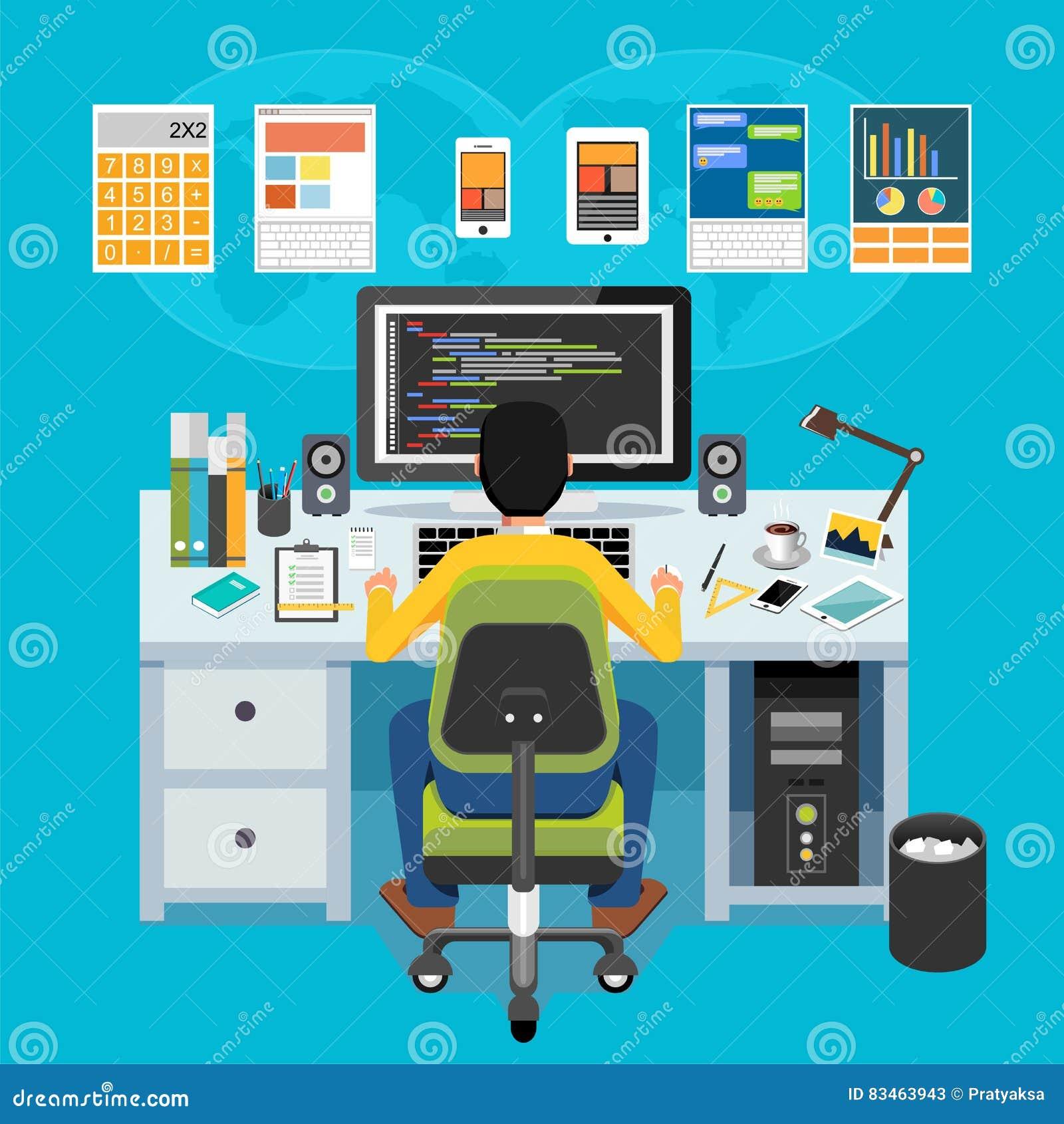 Mobil applikationbärare Programmerare som arbetar på datoren