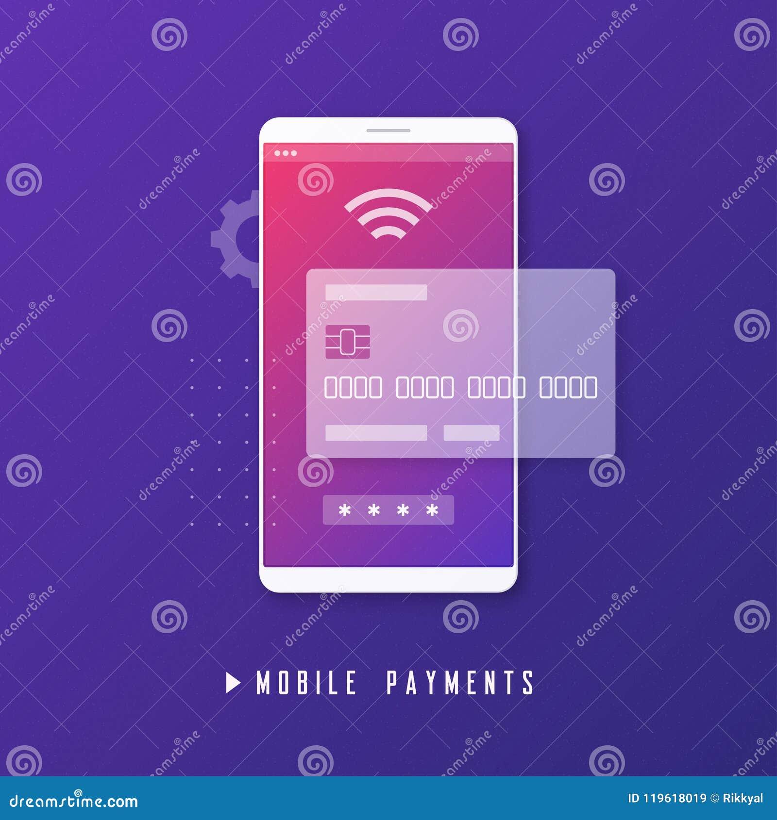 Mobil betalning, online-bankrörelse, begrepp för pengaröverföring