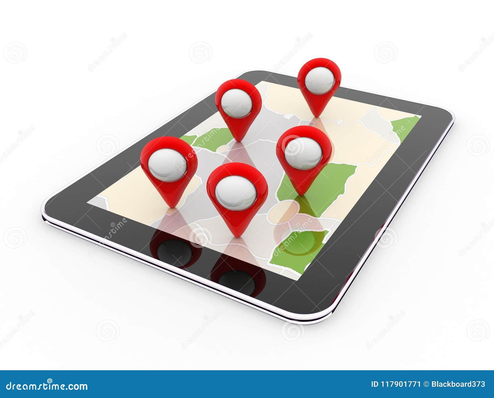 Mobil gps-navigering, loppdestination, läge och positioneringbegrepp, framförande 3d