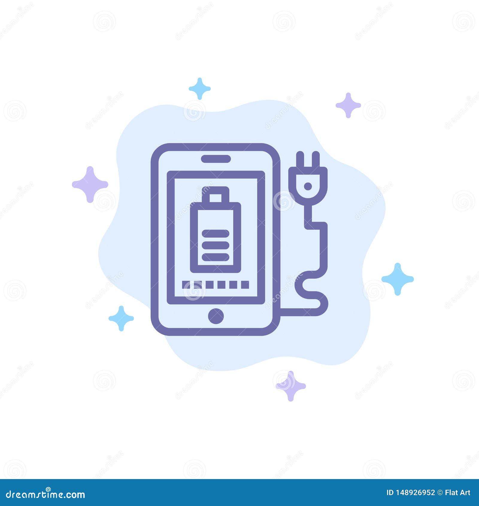 Mobil laddning som är full, blå symbol för propp på abstrakt molnbakgrund