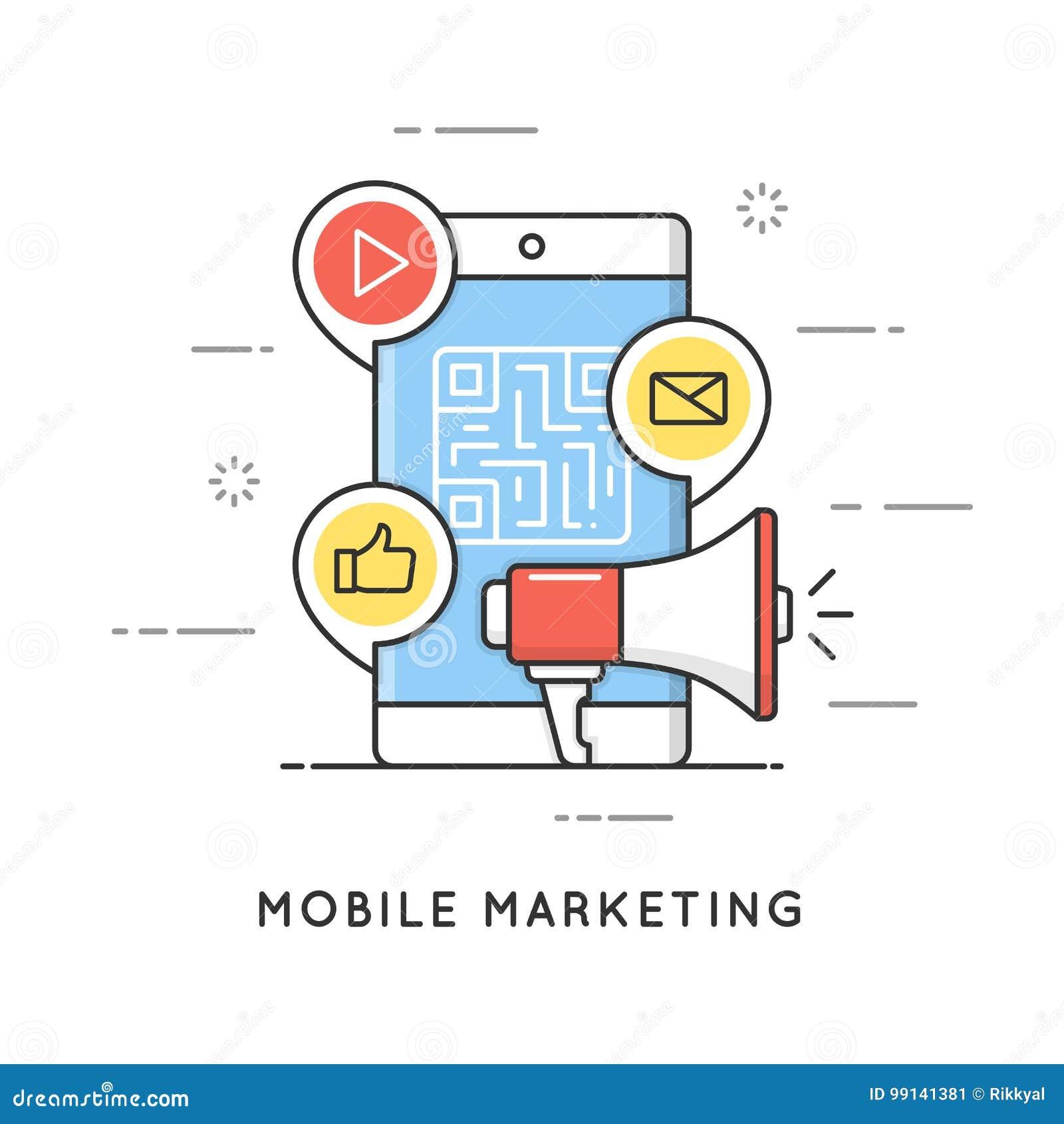 Mobil marknadsföring, e-kommers, internetadvertizing och befordran Plan linje konststilbegrepp Redigerbar slaglängd
