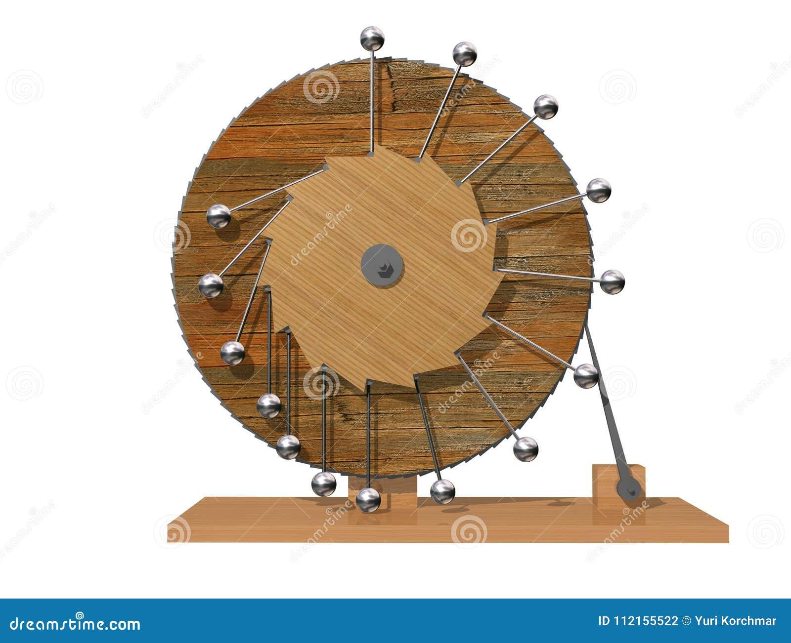 Mobil perpetuum Maskin för evig rörelse för Leonardo da Vinci ` s