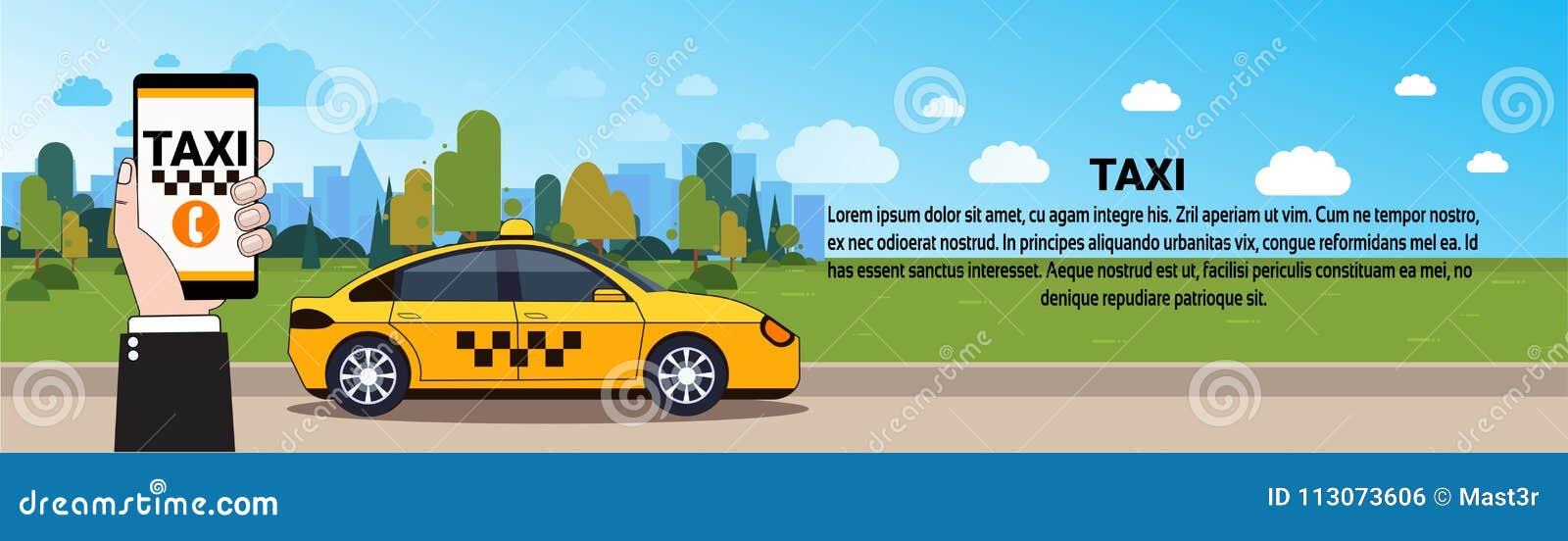Mobil Smart för innehav för taxiservicehand telefon med online-beställning App över den gula taxibilen på väghorisontalbaner