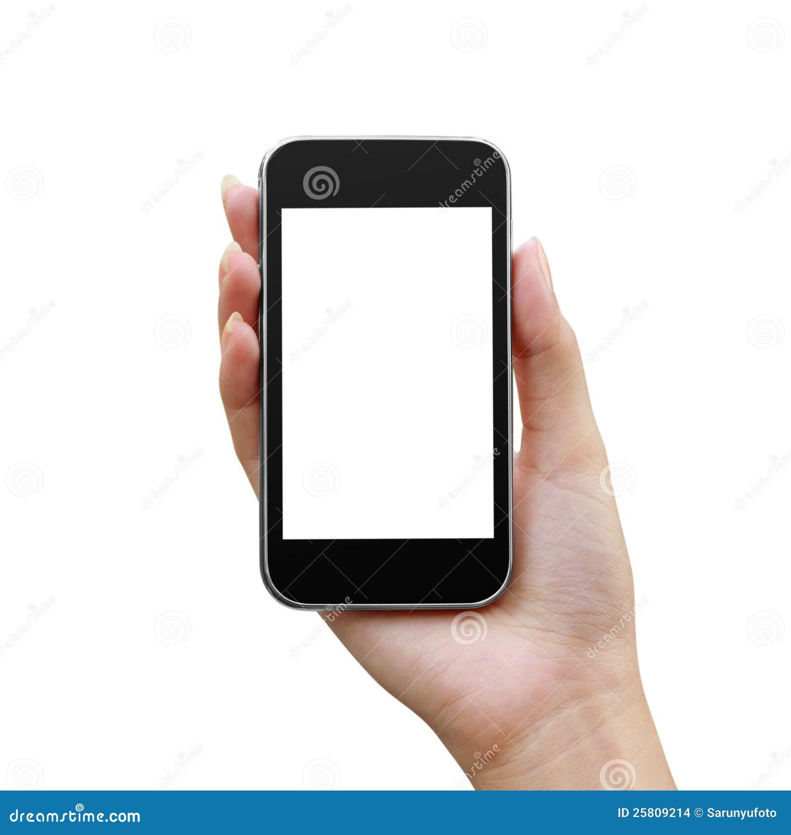 Mobil telefon i en kvinnahand