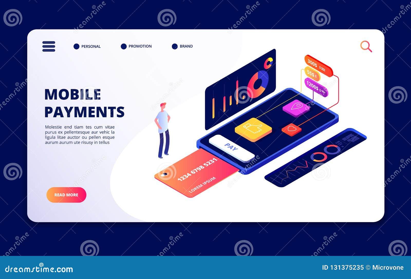 Mobila betalningar Smartphone som packar ihop appen, dataskydd och säkerhetsapparater Säker internet som shoppar vektorbegrepp