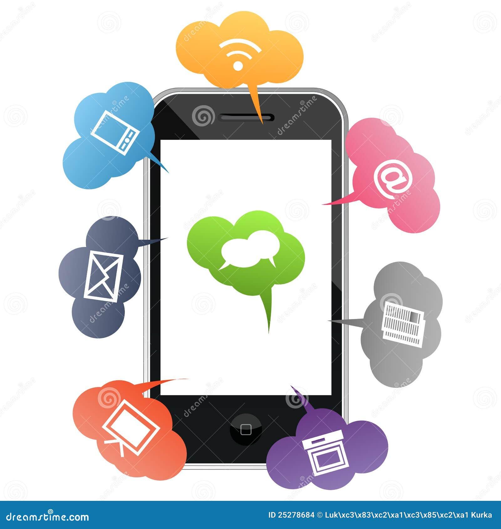 Mobila telefonsymboler för kulör kommunikation