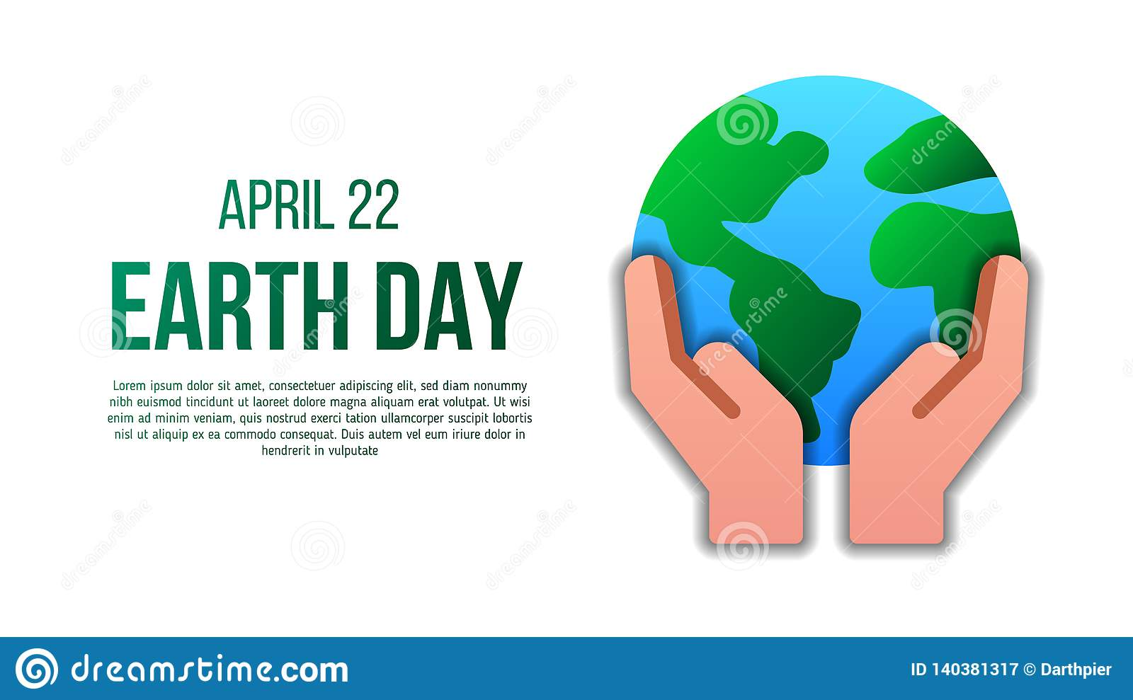 Earth day poster template with modern icon of holding Earth