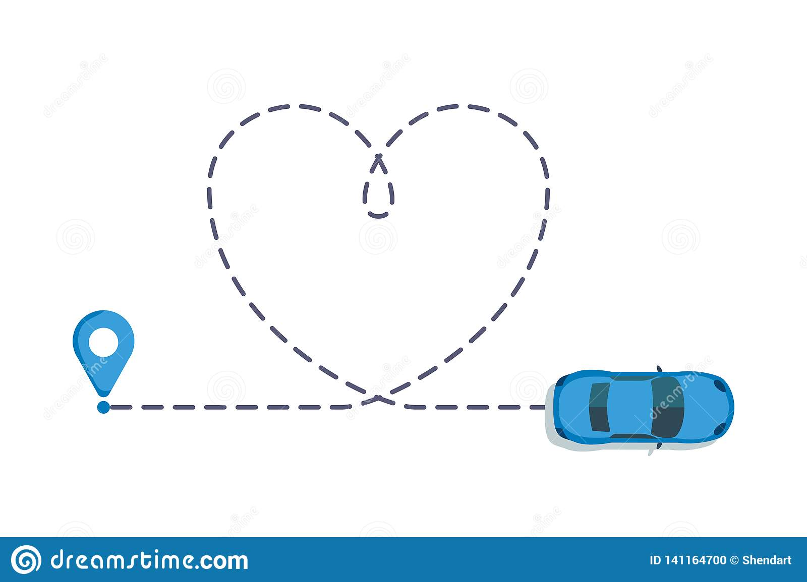 Love Car Route Romantic Travel Heart Dashed Line Trace And Routes