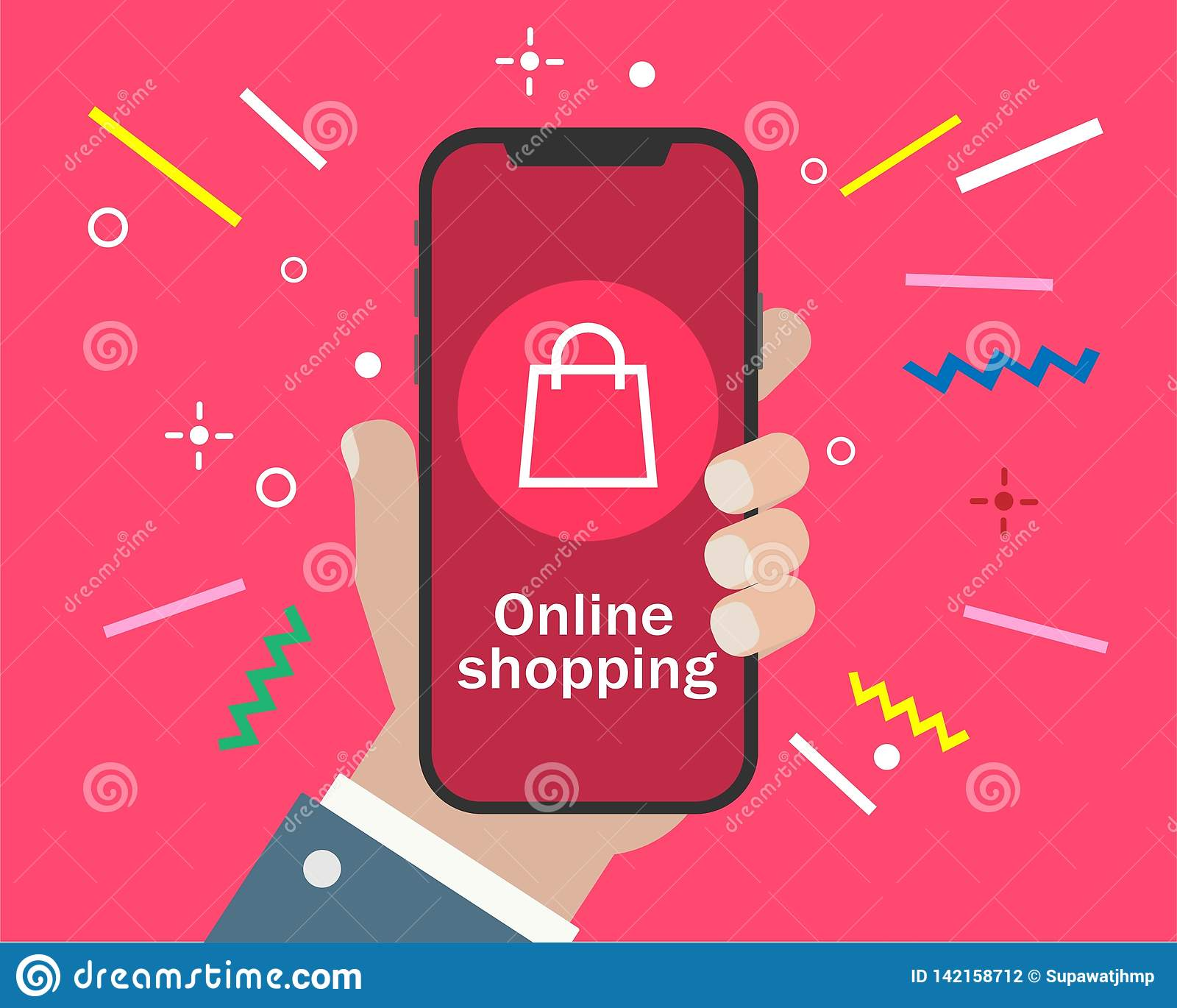 Hand holding smartphone and online shopping