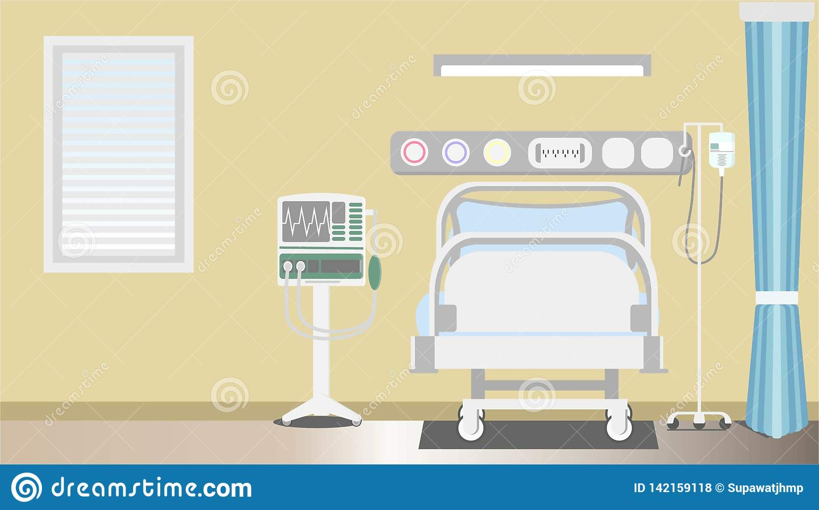 Interior intensive therapy patient space with copy flat vector illustrator