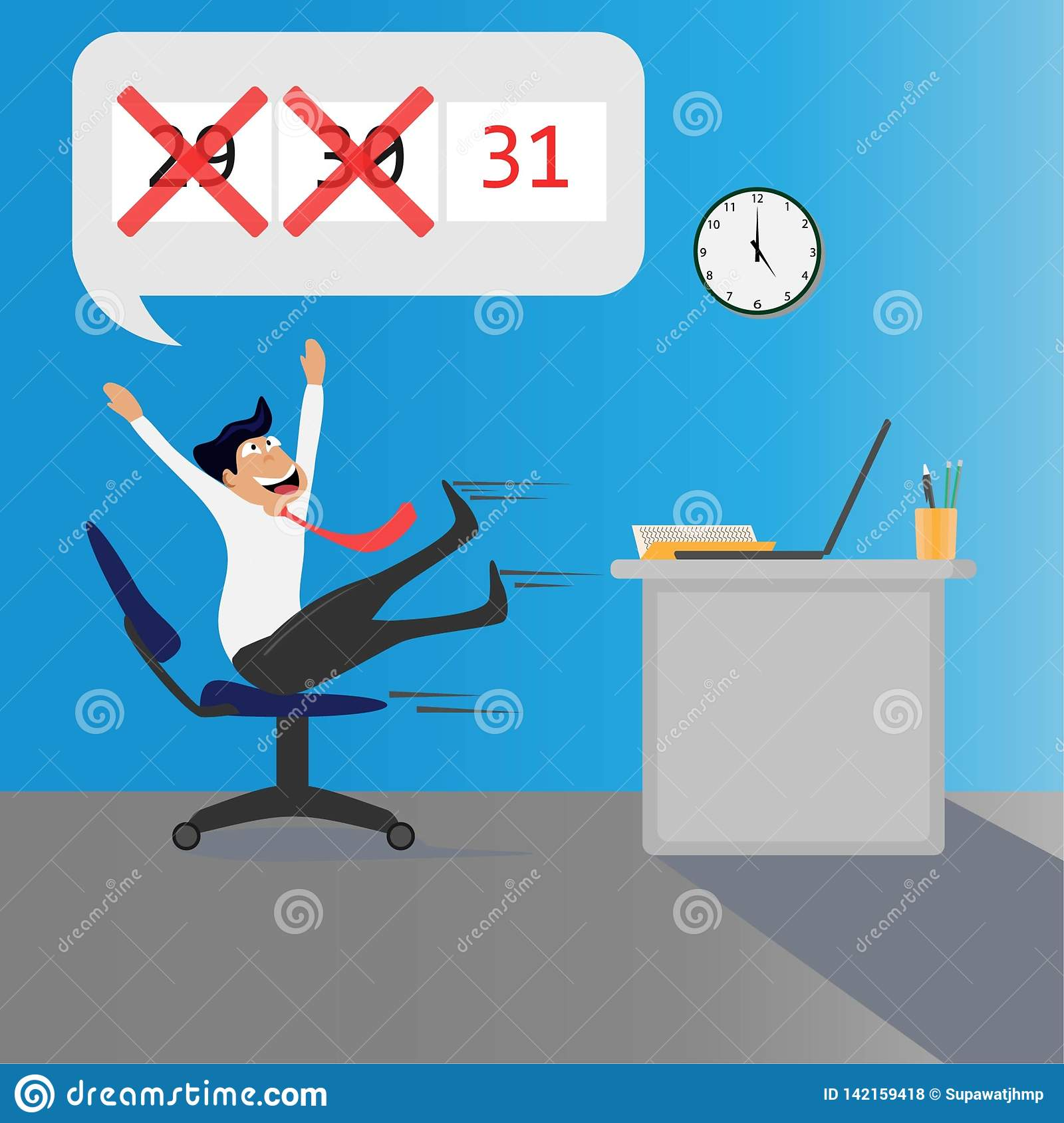Company staff happy on the last day of the month