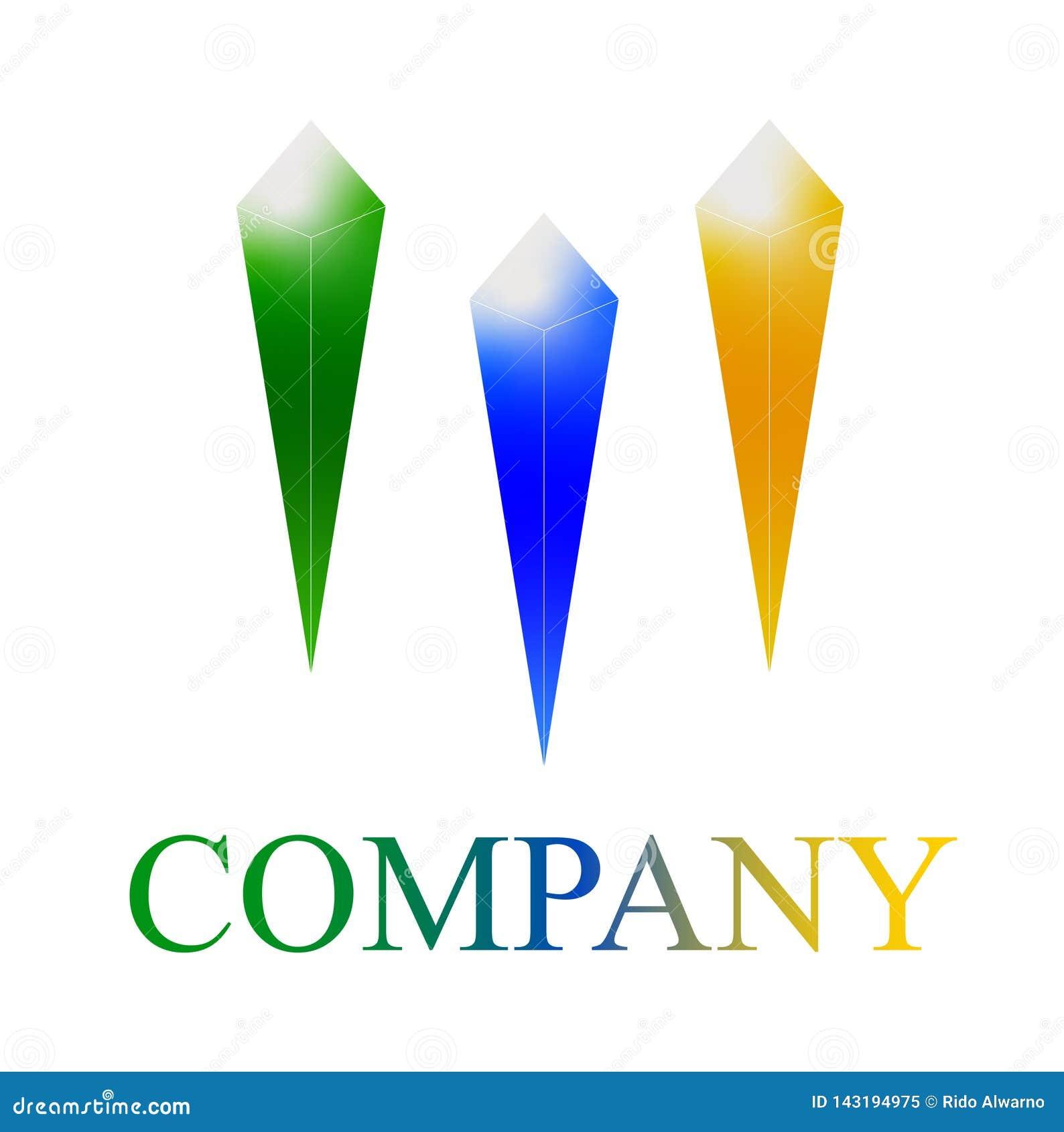 Company logo template. three crystal
