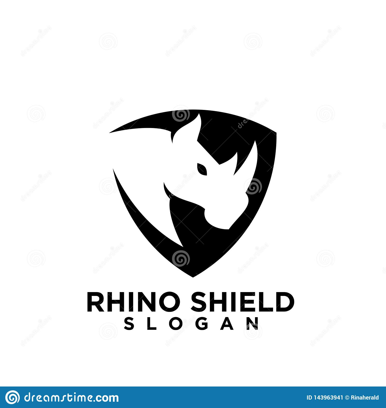 Rhino black shield logo icon designs vector illustration animal save protection