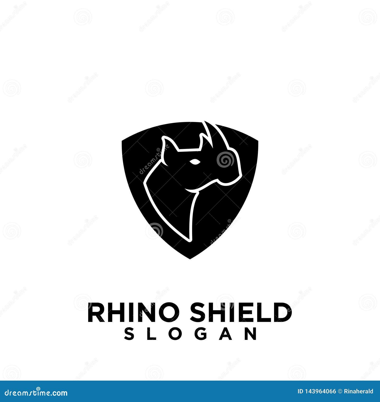 Rhino black shield logo icon designs vector illustration animal save protection