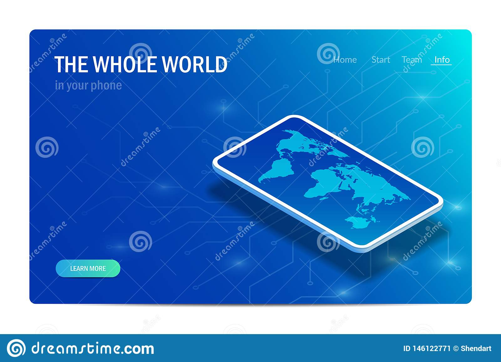 The Whole World In Your Phone. Concept. World Map On The ...