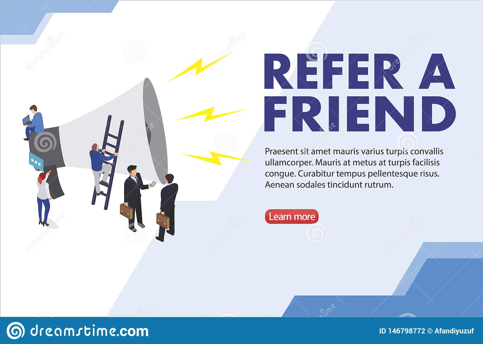 Refer a friend word concept vector illustration with character silhouette man people talking. landing page, template, ui, web, mob