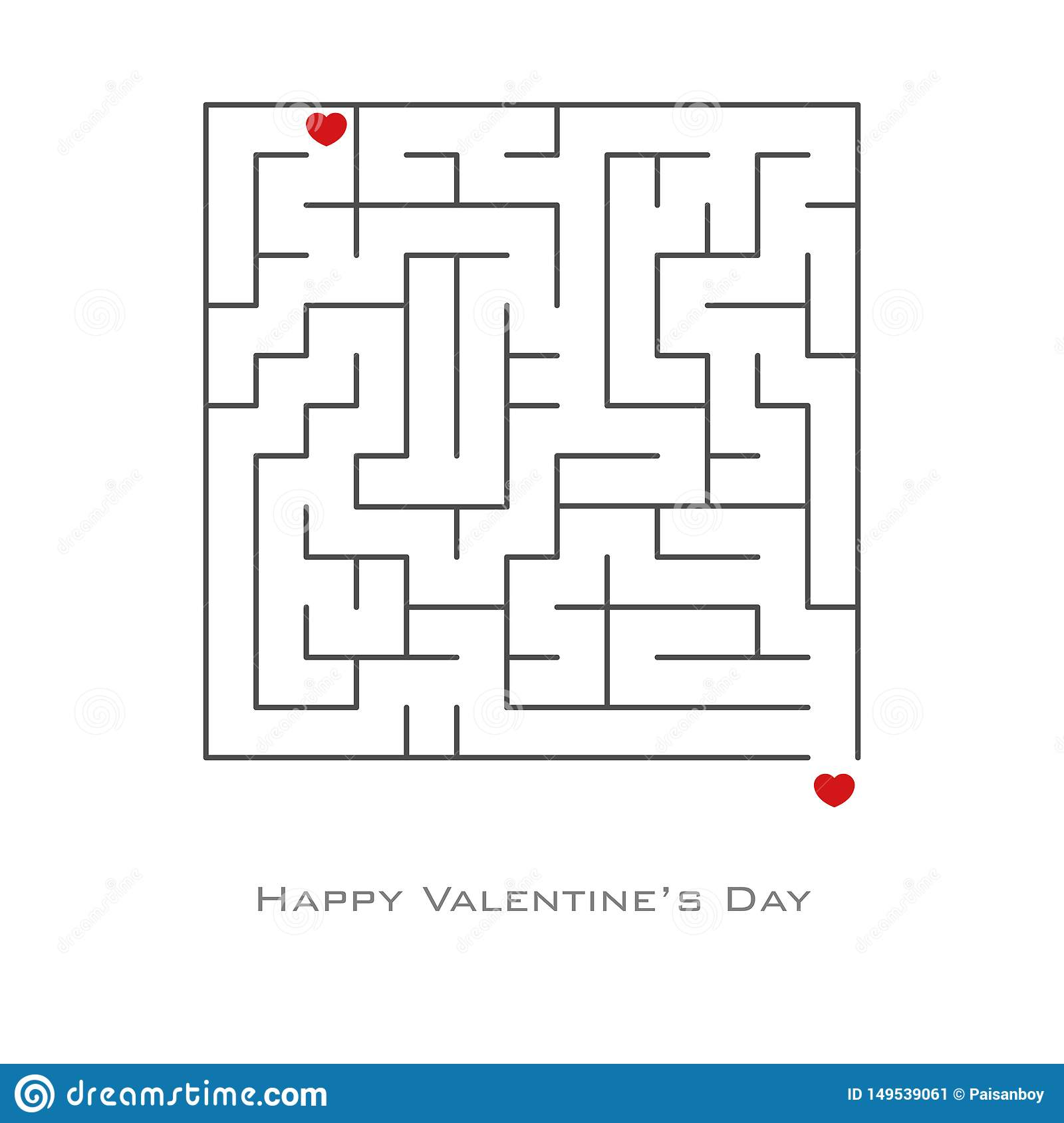 Valentine`s day background with heart shaped in maze and labyrinth style, , flyer, invitation, posters, brochure, banners.