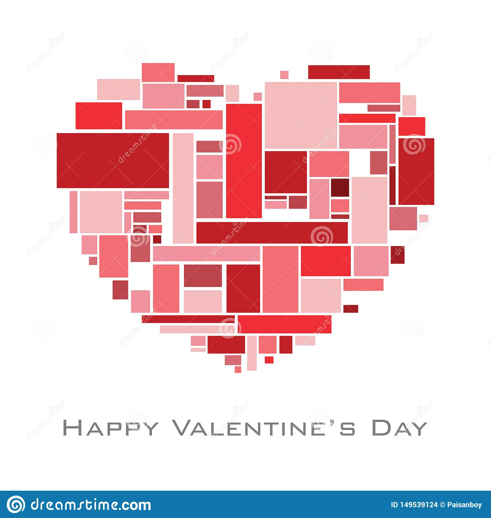 Heart with random rectangles in red tome for valentine`s day