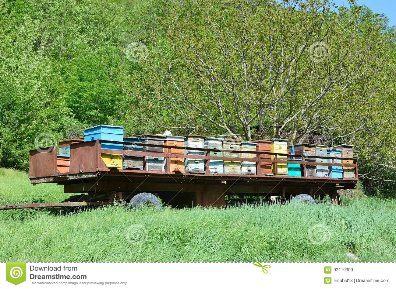 Mobile apiary-trailer at the foot of mount Mangup, Crimea