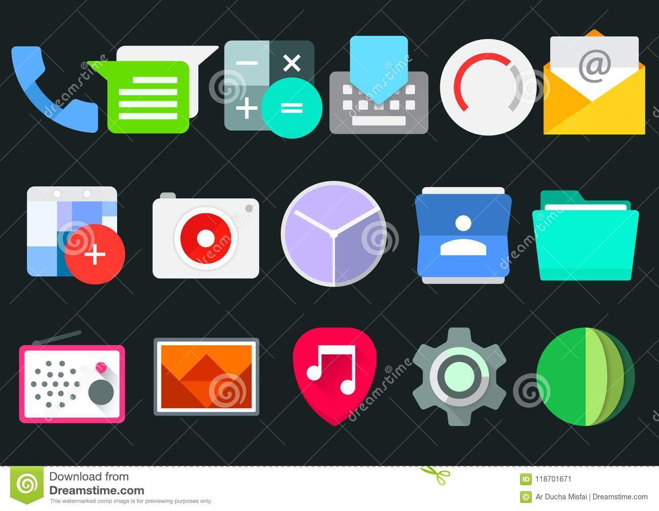 Mobile App Android Icon Pack Stock Vector - Illustration of picture