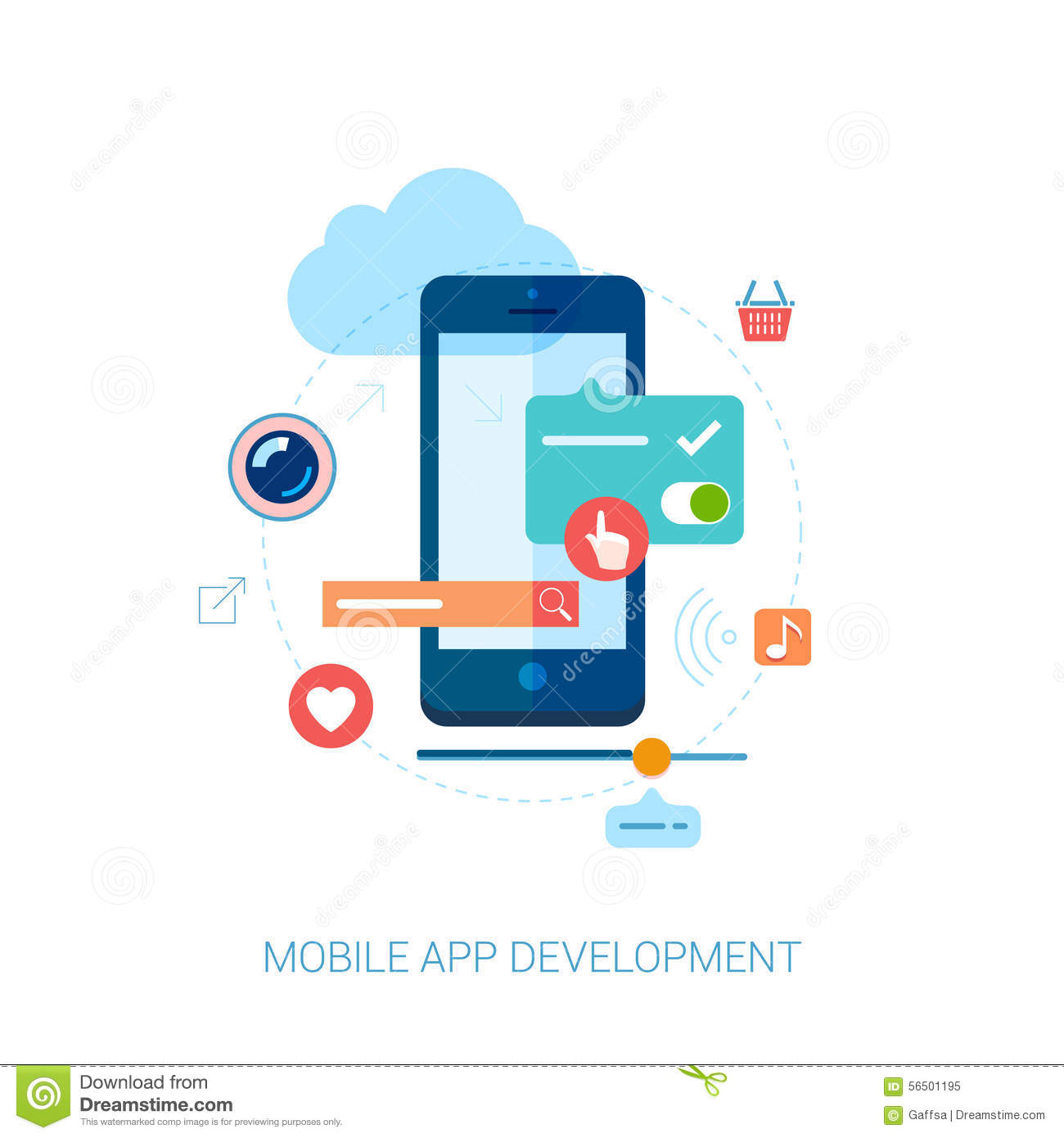 Mobile App Development For Smartphone And Ad Flat Stock Vector Image 56501195