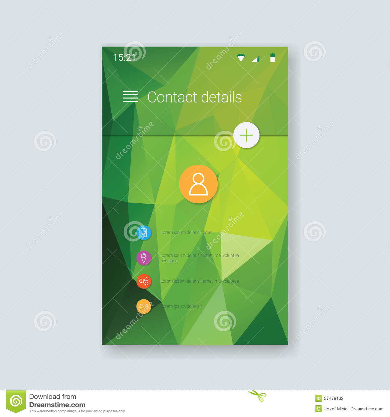 Mobile App Graphic User Interface Low Poly Stock Vector