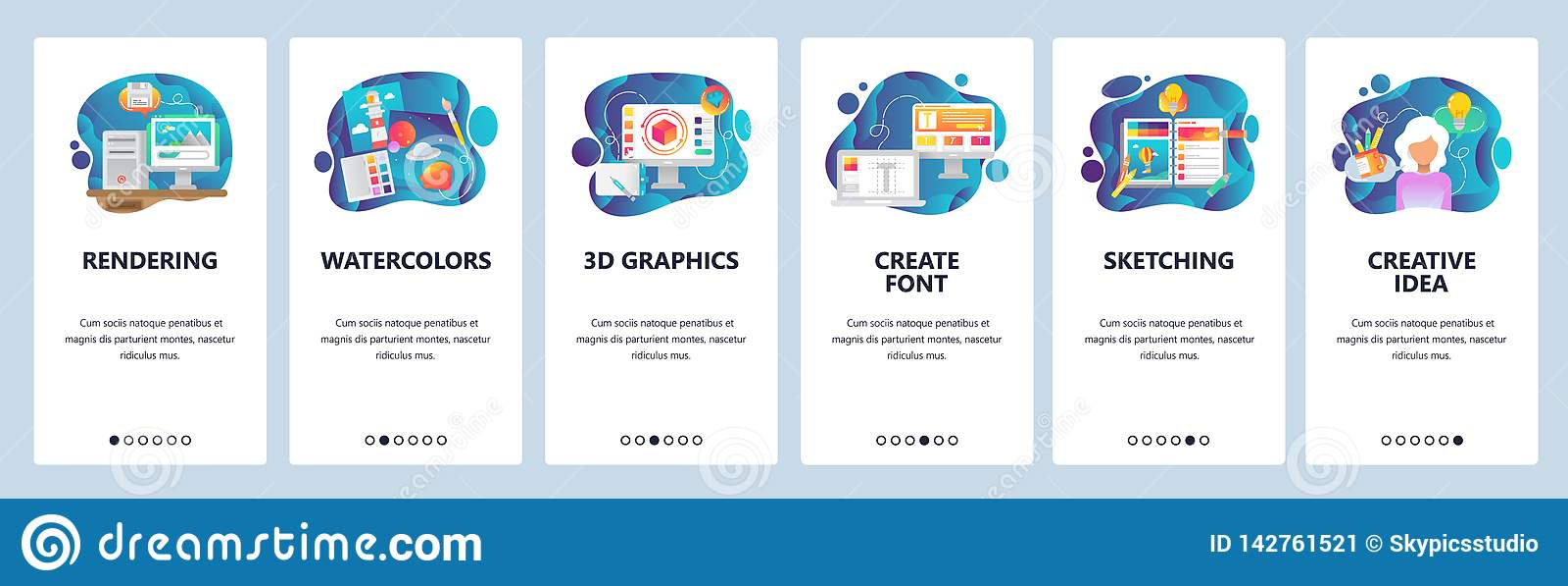 Mobile app onboarding screens. Digital art and watercolor painting, 3d rendering, sketching, font. Menu vector banner