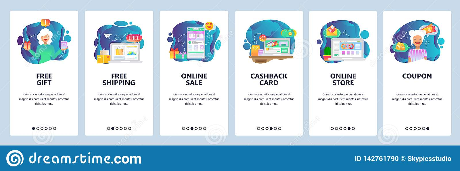 Mobile App Onboarding Screens Online Shopping And Payment