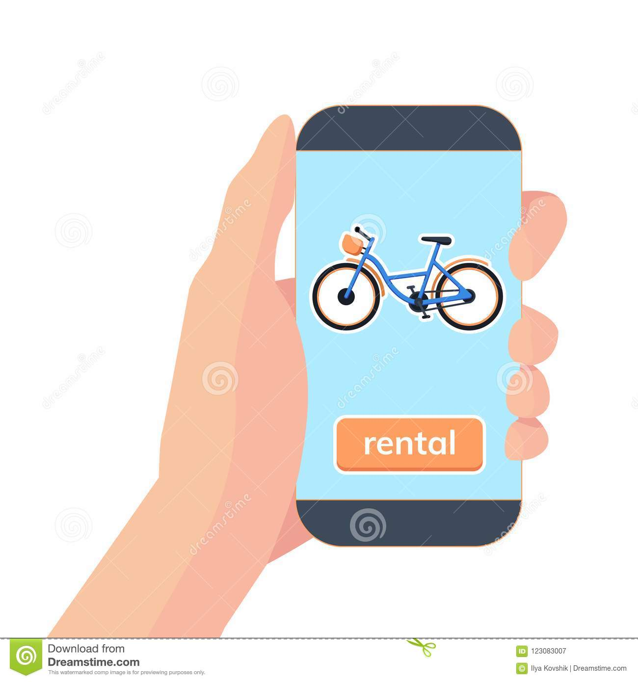 Mobile App For Sharing System. Hand With Smartphone And