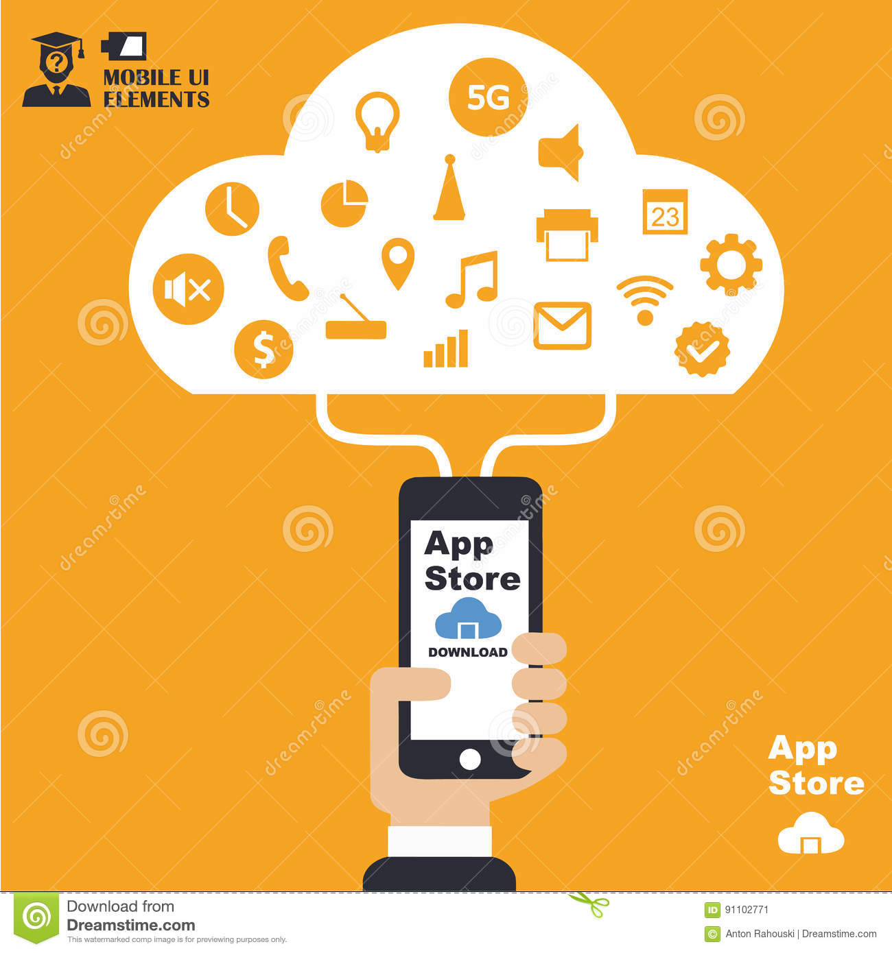 Mobile App Store, Concept, Flat Design Illustration,human