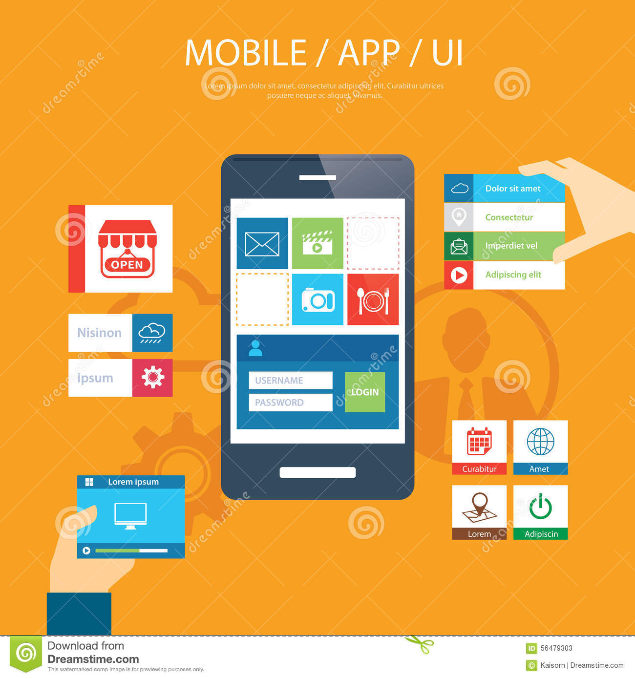 Mobile App And Ui Element Flat Design Stock Vector Image 56479303