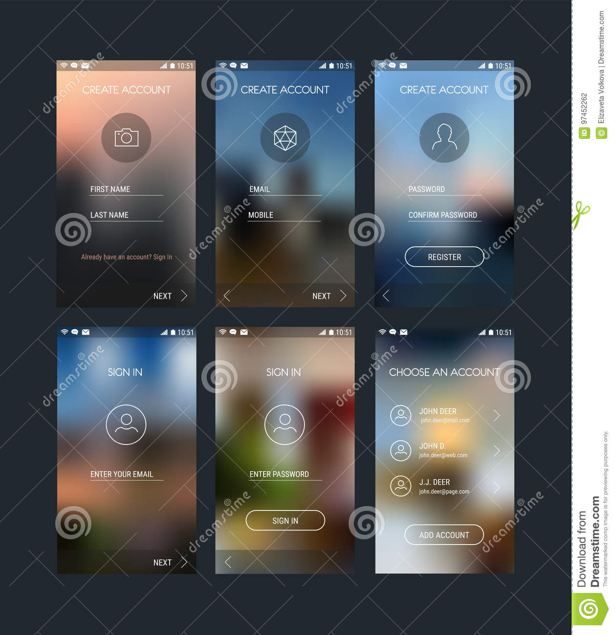 Mobile App UI Sign In And Sign Up Screens Mockup Kit Stock
