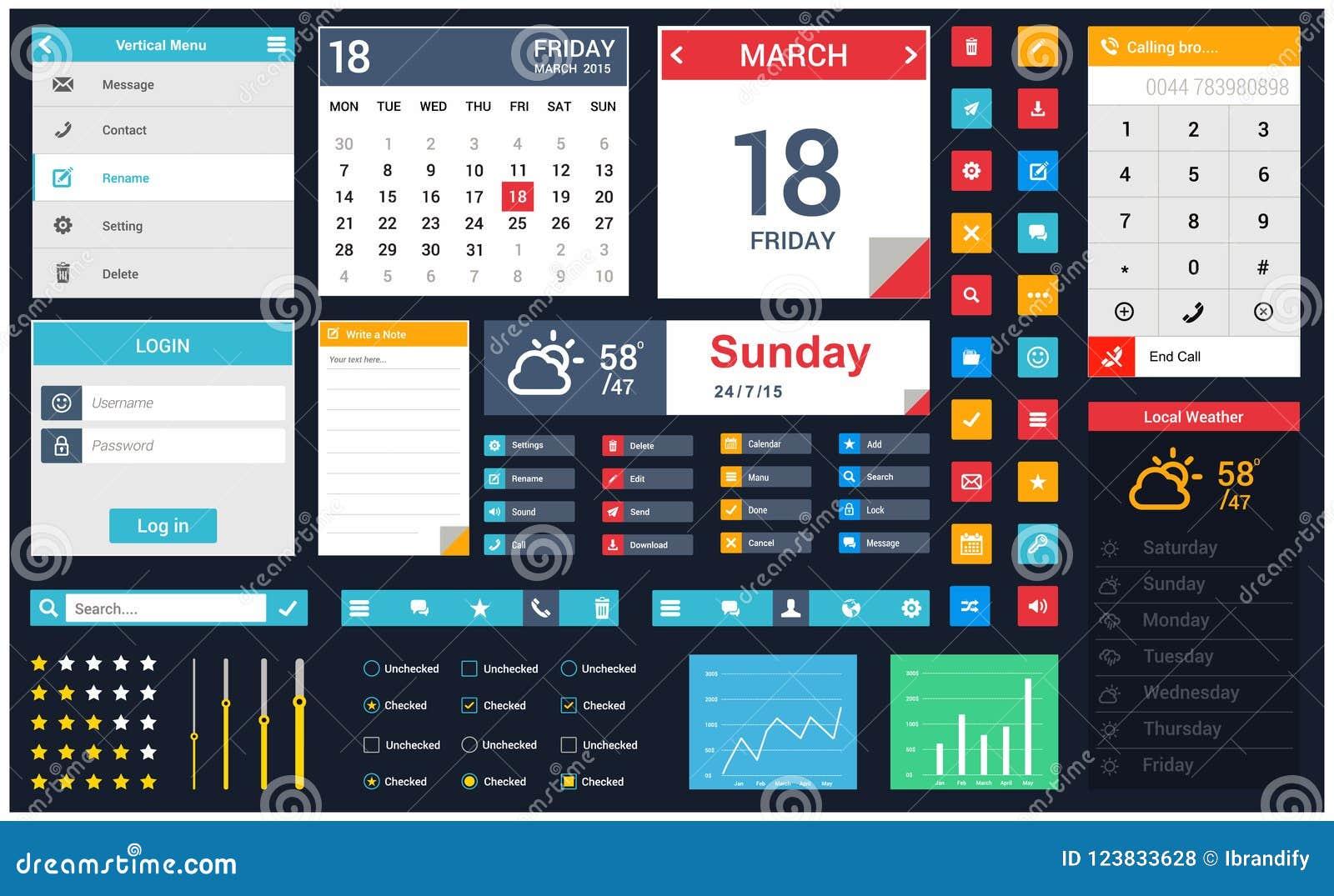 Mobile App User Interface Design Vector Stock Vector Illustration Of Icon Online 123833628