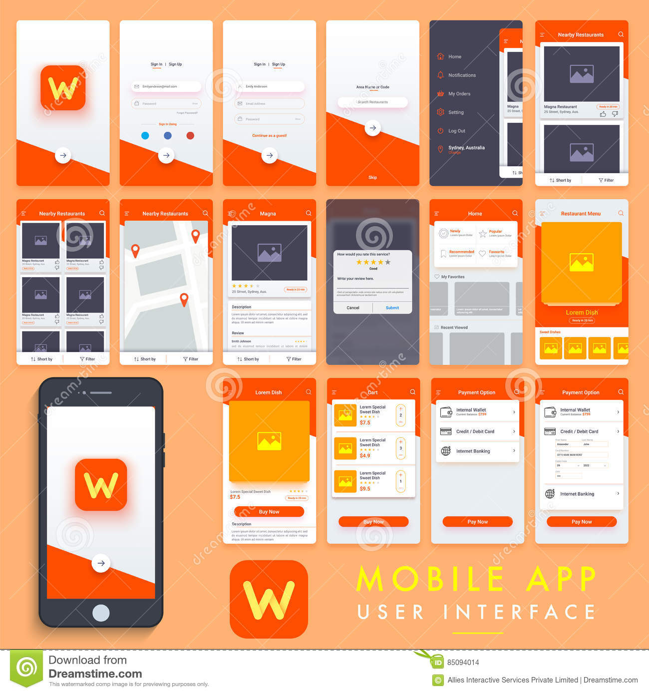 Mobile app user interface template kit stock illustration