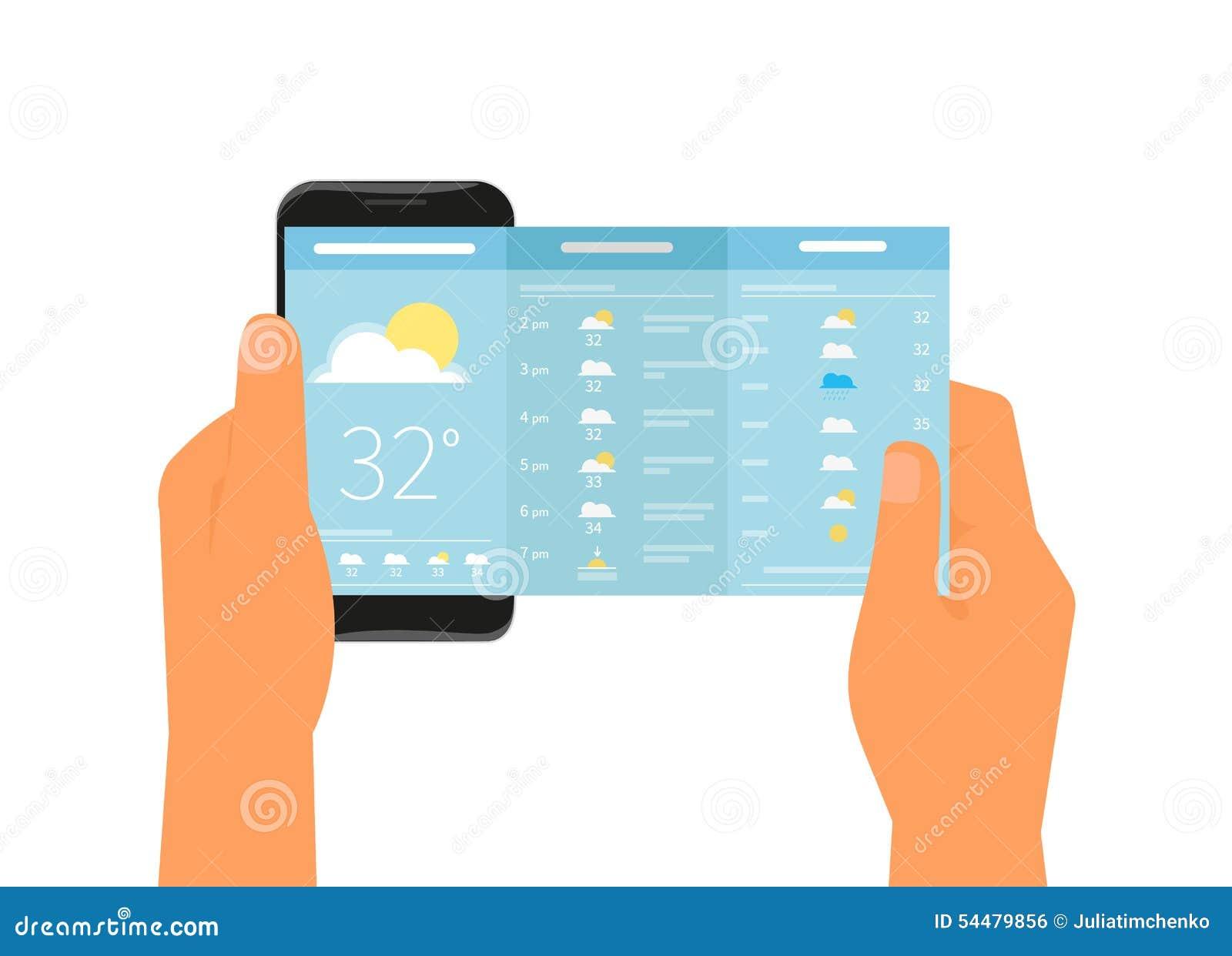 mobile app for weather forecast stock vector image 54479856. Black Bedroom Furniture Sets. Home Design Ideas