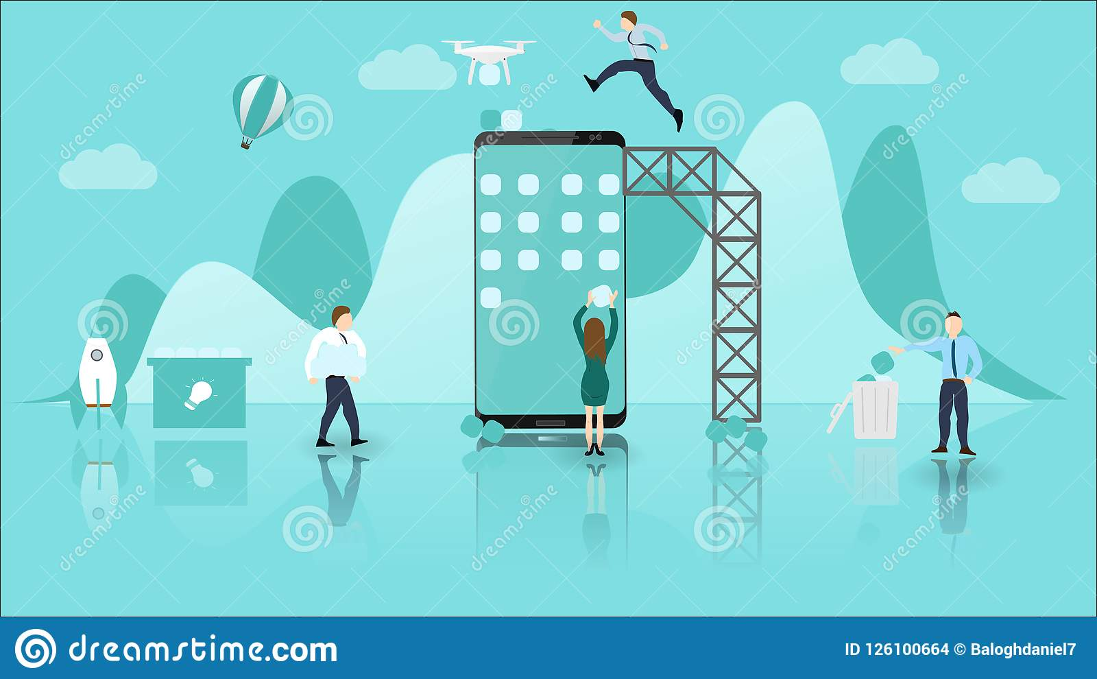 Mobile Application Development Concept with Big Phone and Little People. Experienced Teamwork and Collaboration. Usable