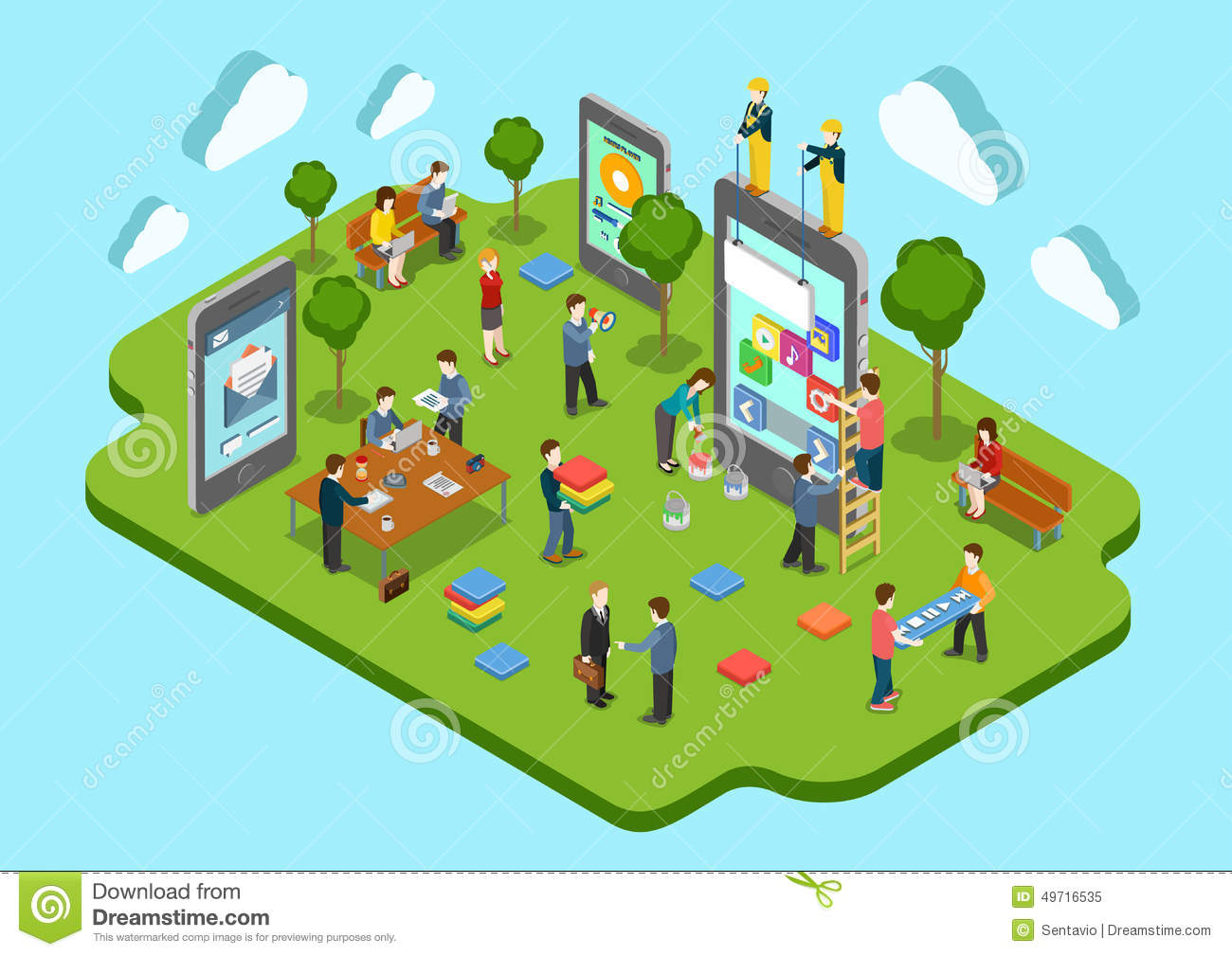 Mobile application development concept flat 3d web 3d application