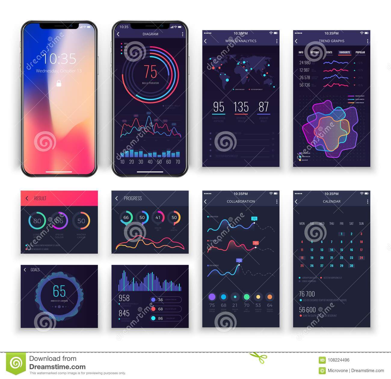 Mobile Application Ux Interfaces Vector Templates With Charts And