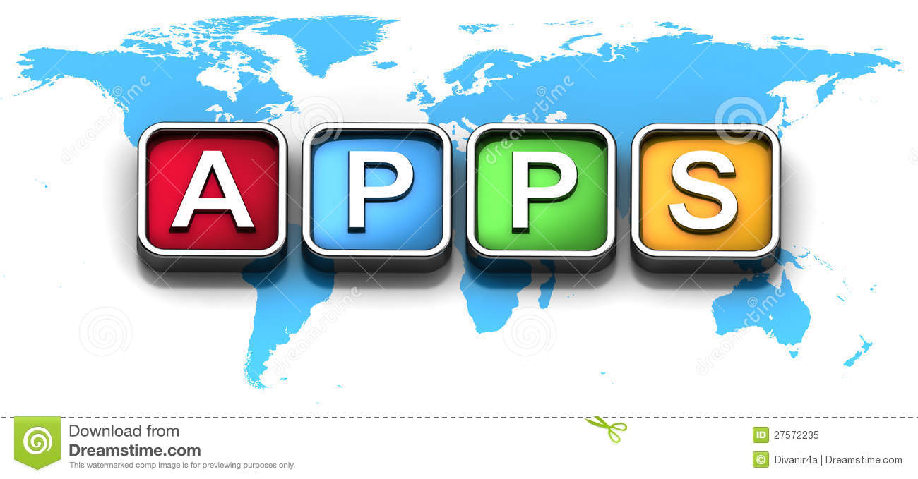Mobile apps icons on world map stock illustration illustration of mobile apps icons on world map gumiabroncs Image collections