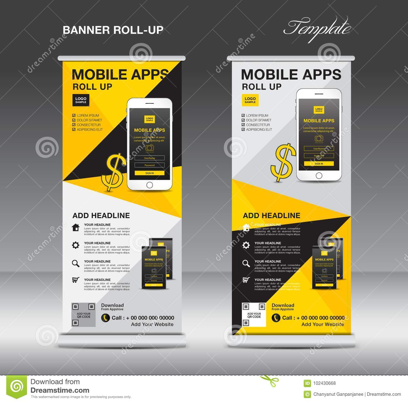 MOBILE APPS Roll up banner template, stand layout, yellow banner